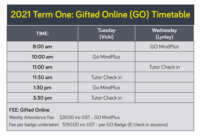 Gifted Online Timetable