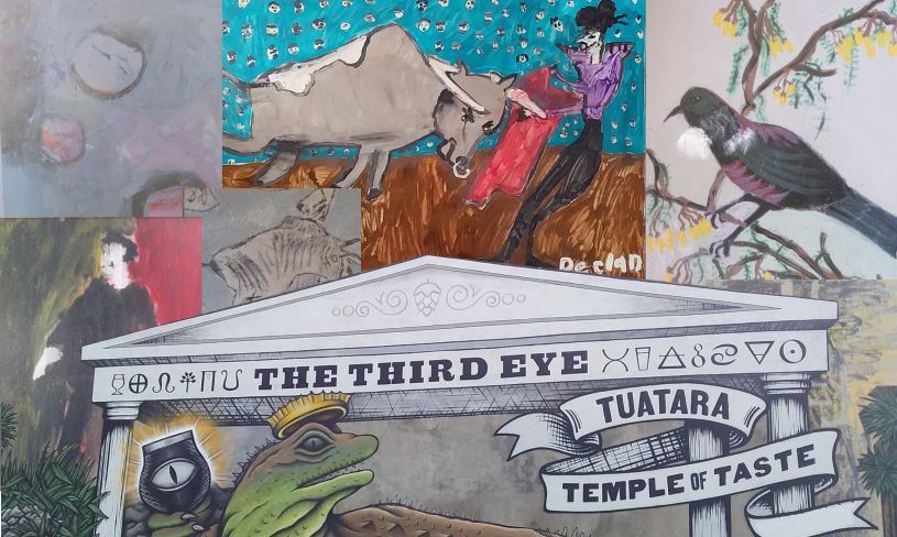 Collage of art made by our people over the mural on the Third Eye wall