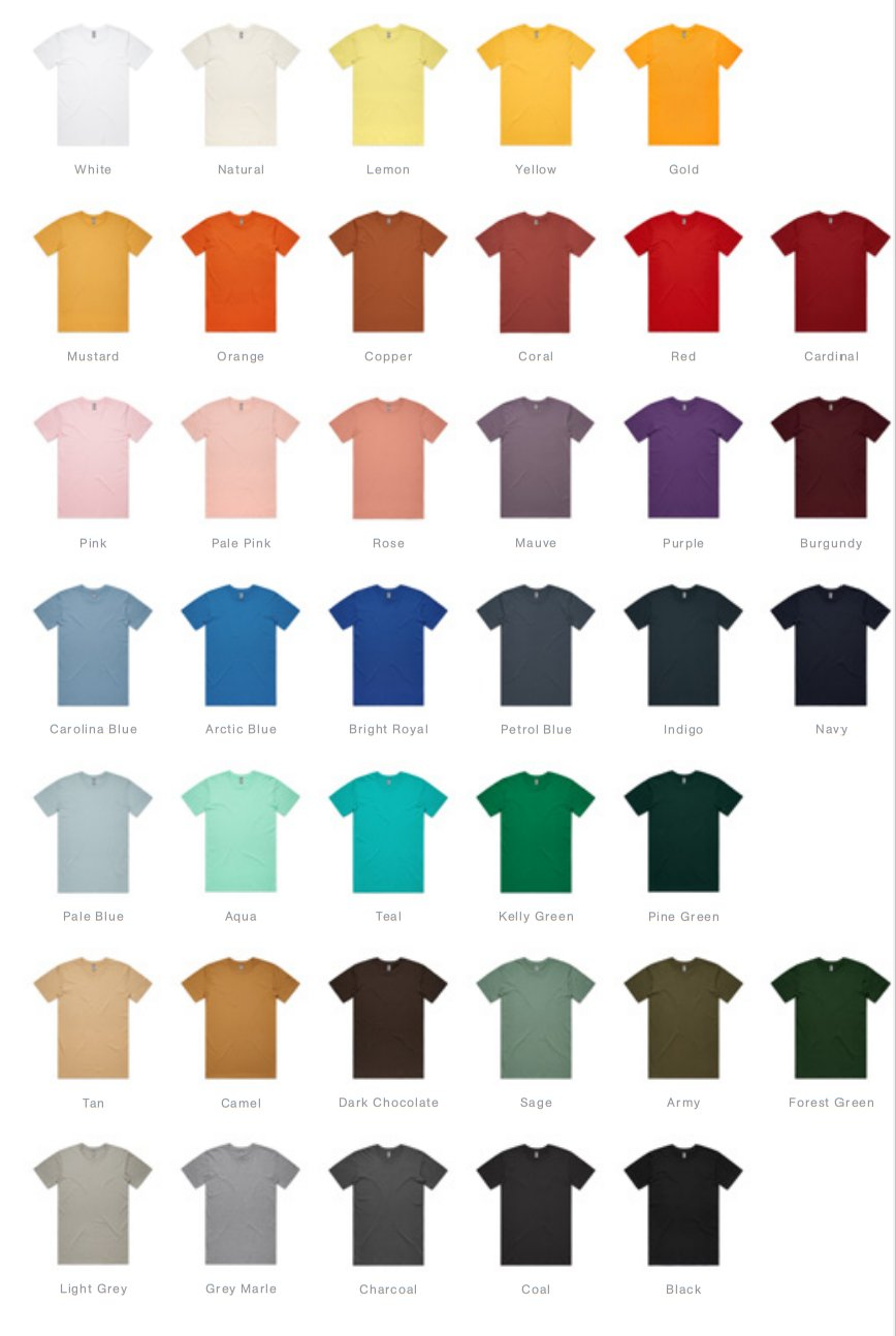 Colour swatch for T-shirts