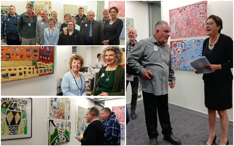 Collage of images of exhibition opening