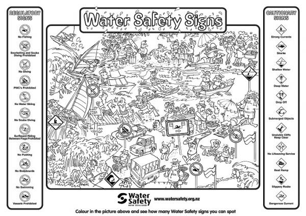 Water Safety Signs colouring in template